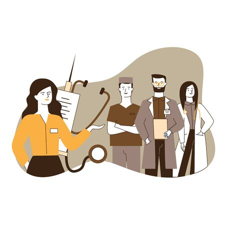 Female medical administrator and her team standing confidently. Medical staff standing flat vector illustration. Health care, medical services concept for banner, website design or landing web page