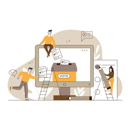 Internet or electronic voting. Man and woman filling up forms and throwing into ballot box flat vector illustration. Election campaign concept for banner, website design or landing web page