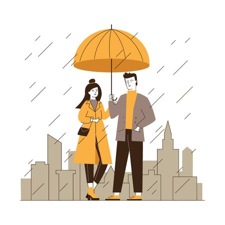 Couple standing under umbrella in street on rainy day. Man and woman in stylish red coat flat vector illustration. People in front of cityscape with skyscrapers and other buildings in rain