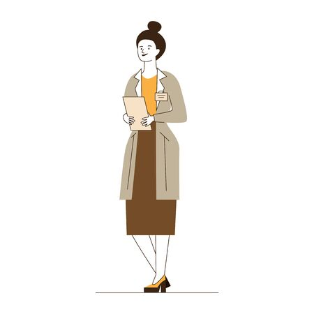 Female physician with medical history. Doctor in white coat flat vector illustration. Healthcare, consulting, examination concept for banner, website design or landing web page