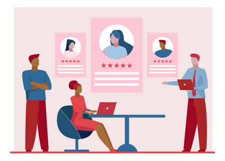 Best employees rating. Employers and recruit agents choosing job candidate flat vector illustration. Human resource, career concept for banner, website design or landing web page