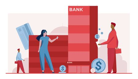 Customers with money standing near bank building. Clients, dollar coins, credit cards flat vector illustration. Finance, loan, online transfer concept for banner, website design or landing web page