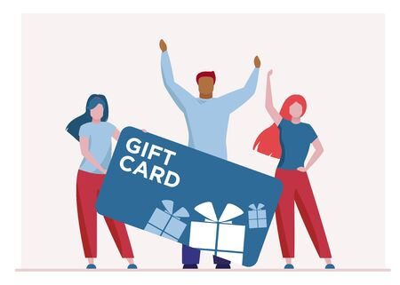 Customers advertising gift card. People presenting store voucher flat vector illustration. Shopping, loyalty program, bonus concept for banner, website design or landing web page Ilustrace
