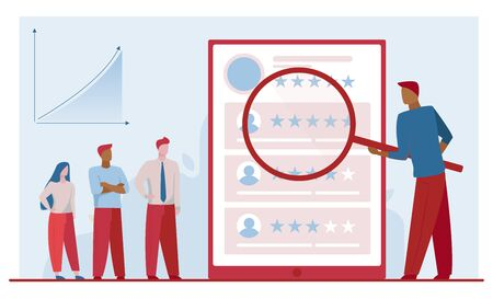 Marketing group analyzing customer satisfaction. Magnifier, product rate, growth chart flat vector illustration. Analysis, feedback, commerce concept for banner, website design or landing web page