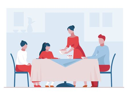 Family having dinner. Dining room, table, teenagers flat vector illustration. Celebration, home, event concept for banner, website design or landing web page