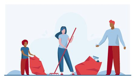Family collecting garbage outdoors. Couple with kid cleaning lawn from trash flat vector illustration. Volunteering, cleaning, nature concept for banner, website design or landing web page