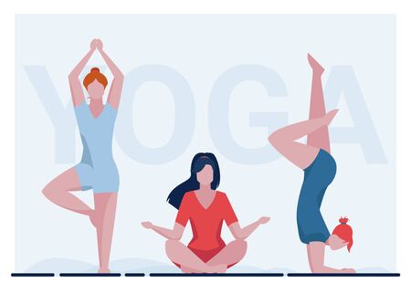 Female yogi group. Women in fitness apparel practicing yoga flat vector illustration. Meditation, activity, body training concept for banner, website design or landing web page Ilustracja