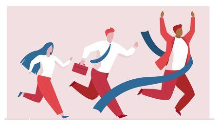 Business people competition. Leader crossing finish line flat vector illustration. Rat race, leadership, winning concept for banner, website design or landing web page