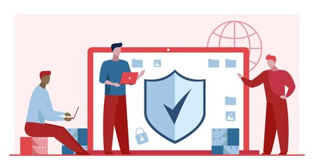 Antivirus and data safety. Developers with laptops standing near monitor with shield flat vector illustration. Software, access, safeguard concept for banner, website design or landing web page