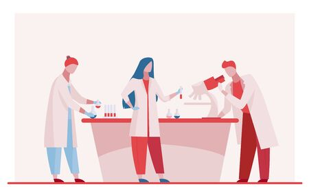 Lab assistants doing research. People in white coats using microscope, test tubes flat vector illustration. Laboratory, chemistry, medical test concept for banner, website design or landing web page