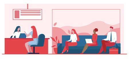 Bank worker providing service to customers. People in bank office sitting in line flat vector illustration. Banking services, customer support concept for banner, website design or landing web page Ilustrace
