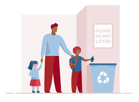 Dad with kids throwing litter in recycling bin. Parent with children tossing garbage flat vector illustration. Ecology, recycling family concept for banner, website design or landing web page