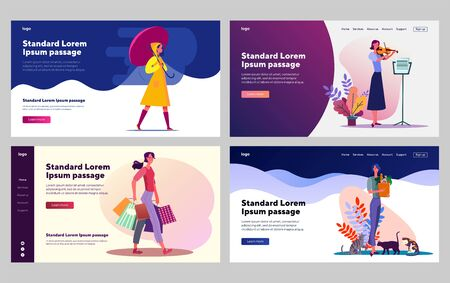 Woman enjoying leisure time set. Walk in rain, playing violin, shopping, cats. Flat vector illustrations. Hobby, lifestyle, weekend concept for banner, website design or landing web page