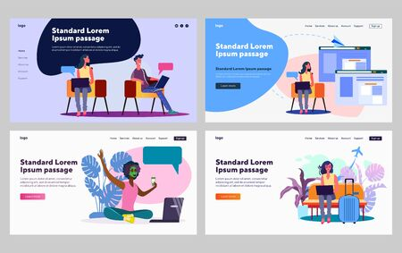 Internet communication set. People using devices for online chat, booking, blogging. Flat vector illustrations. Internet, wireless technology concept for banner, website design or landing web page