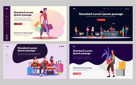 Customers in public places set. Shopping, tourists in airport, queue in supermarket. Flat vector illustrations. Communication, city, commerce concept for banner, website design or landing web page
