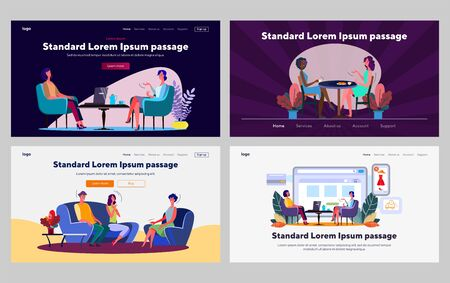 Talking friends set. Women drinking tea, meeting at home, eating in cafe. Flat vector illustrations. Friendship, communication, leisure concept for banner, website design or landing web page