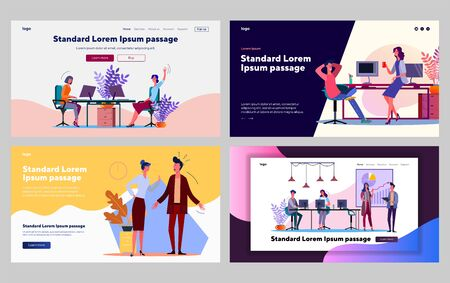 Office employees communication set. Managers talking, arguing, presenting project. Flat vector illustrations. Business, corporate work concept for banner, website design or landing web page Vectores