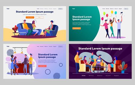 Friends gathering together set. People meeting at home, drinking beer in bar, birthday. Flat vector illustrations. Friendship, communication concept for banner, website design or landing web page