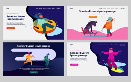 Children enjoying winter activities set. Sledging, skiing, snowboarding, walking dog. Flat vector illustrations. Vacation, lifestyle, leisure concept for banner, website design or landing web page Banque d'images - 140555706