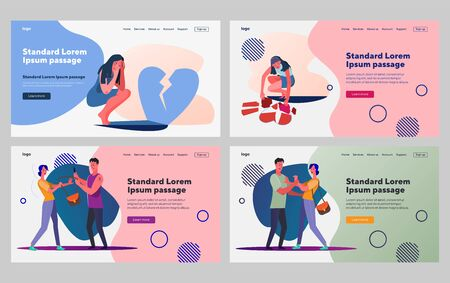 Violence in relationships set. Man and woman fighting, broken heart. Flat vector illustrations. Toxic relationships, violence, breakup concept for banner, website design or landing web page Vettoriali