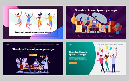 Friends hanging out together set. People dancing, drinking beer in bar, birthday. Flat vector illustrations. Friendship, communication concept for banner, website design or landing web page