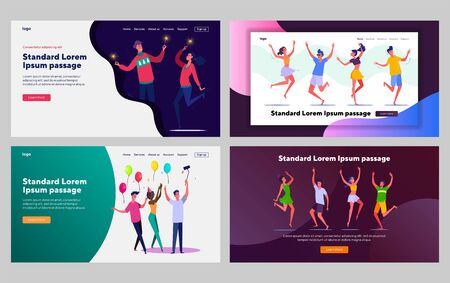 Friends celebrating birthday together set. Young people dancing in party. Flat vector illustrations. Friendship, communication, holiday concept for banner, website design or landing web page