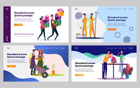Happy young couple doing domestic works together set. Gardening, cooking, renovation. Flat vector illustrations. Relationship, togetherness concept for banner, website design or landing web page