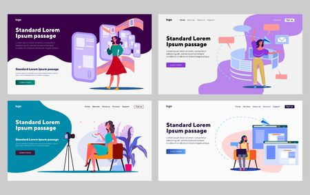 Female blogger set. Woman recording video of herself, chatting online, using laptop. Flat vector illustrations. Blogging, communication, internet concept for banner, website design or landing web page Ilustrace