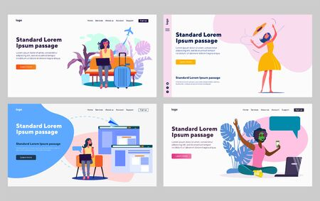 Beauty and travel blogger set. Using laptop in airport, face mask, video chat. Flat vector illustrations. Blogging, internet, vacation concept for banner, website design or landing web page Ilustrace