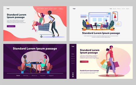 Women enjoying leisure time set. Shopping together, eating in cafe. Flat vector illustrations. Friendship, communication, activity concept for banner, website design or landing web page
