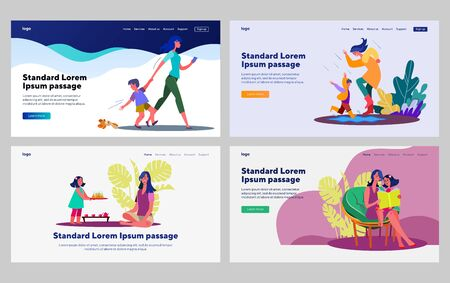 Little kids with mother set. Woman walking outside with son, reading with daughter. Flat vector illustrations. Motherhood, childhood, care concept for banner, website design or landing web page