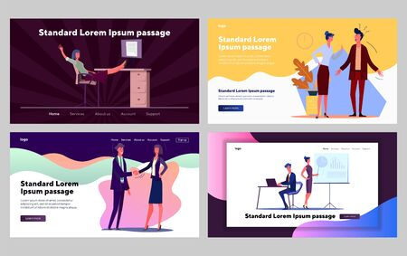 Corporate communication set. Lazy and hardworking managers working on projects. Flat vector illustrations. Business, efficiency concept for banner, website design or landing web page