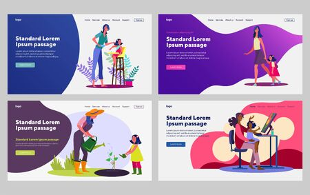 Mom spending time with little daughter set. Feeding child, walking, gardening, painting. Flat vector illustrations. Hobby, activity, childhood concept for banner, website design or landing web page