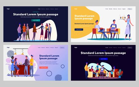 People meeting in bar or party set. Men and women shaking hands, drinking. Flat vector illustrations. Friendship, communication, acquaintance concept for banner, website design or landing web page