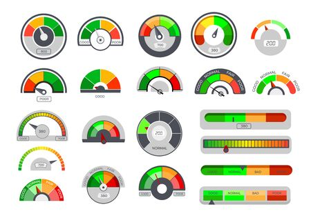 Credit limit gauges. Score indicators, speedometer scales with arrows, loan ceiling level, financial rating meter. Vector illustration set for finance, mortgage, measurement concept