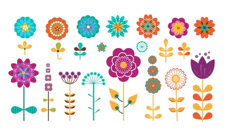 Colorful spring and summer flowers. Floral nature elements for greeting cards, stickers, labels and tags. Vector illustration set for blooming, springtime, gardening, decoration concept Ilustração