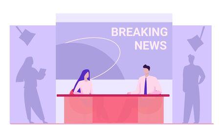 News anchors on breaking news background. Presenter, journalists, partners flat vector illustration. TV show, studio, broadcasting concept for banner, website design or landing web page