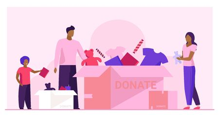 Family packing donation box. Clothes and toys for needy people flat vector illustration. Volunteering, charity, goodwill concept for banner, website design or landing web page