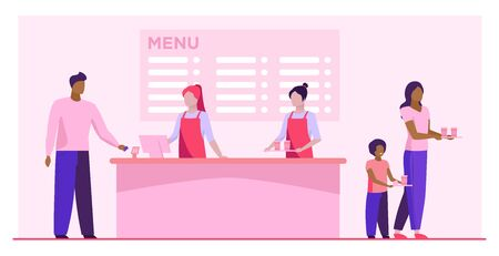 Fast food restaurant counter. Checkout, cashiers, menu, customers with trays flat vector illustration. Cafe, diner, eating concept for banner, website design or landing web page