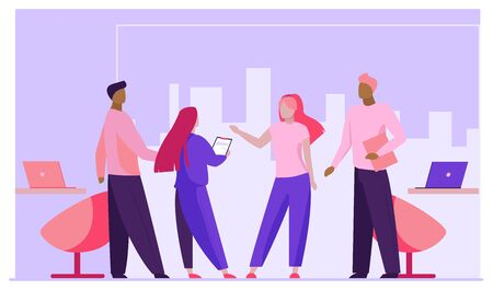 Business partners meeting in office. Businesspeople standing and talking flat vector illustration. Partnership, cooperation, discussion concept for banner, website design or landing web page