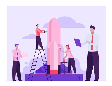 Team repairing and painting rocket for launch. Startup group, using laptop flat vector illustration. New project, business, idea concept for banner, website design or landing web page