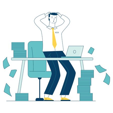 Stressed businessman with stacks of papers. Office employee with piles of documents holding head flat vector illustration. Paperwork, messy concept for banner, website design or landing web page