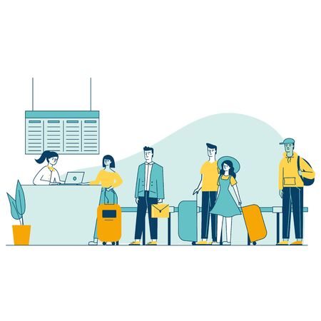 Travelers in airport waiting in queue for check vector illustration. People standing in line at airport departure area. Gate agent checking people before boarding. Airline transportation service.