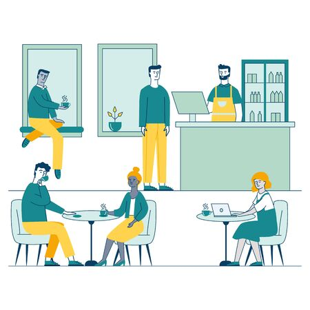 Coffee shop with young people characters dinning in coffeehouse vector illustration. Cafe with men and women drinking coffee and working together. Coworking and collaboration concept.