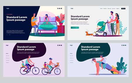 Parents and kids leisure time set. Mom, dad, children walking, riding bikes, exercising. Flat vector illustrations. Parenting, child care, family concept for banner, website design or landing web page