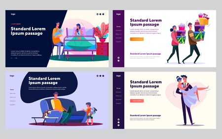 Young family set. Couple getting married, carrying gifts for party, soothing baby. Flat vector illustrations. Love, relationship, togetherness concept for banner, website design or landing web page Çizim