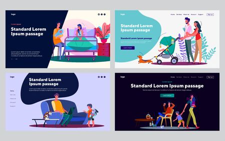 Types of parents set. Young couple soothing baby, dad ignoring kid, drinking alcohol. Flat vector illustrations. Parenting, child care concept for banner, website design or landing web page