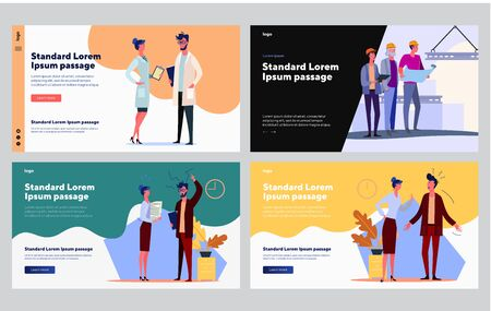 Successful and failed professionals set. Manager arguing with colleague, doctor, engineer team. Flat vector illustrations. Job, work, cooperation concept for banner, website design or landing web page
