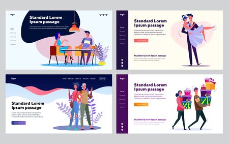 Family relations collection. Couple dating, getting married, mother with adult daughter. Flat vector illustrations. Love, relationship concept for banner, website design or landing web page