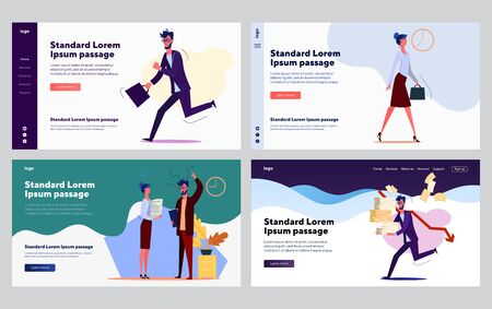 Low performing employee set. Worker running with papers, arguing with colleague. Flat vector illustrations. Time management problem, work failure concept for banner, website design or landing web page